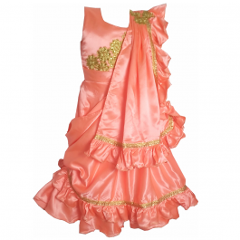 HVM Girls Peach Party Wear Gown