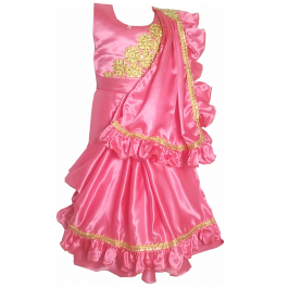 HVM Girls Magenta Party Wear Gown