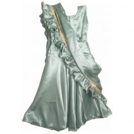 HVM Girls Sea Green Party Wear Gown