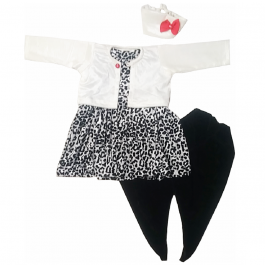 HVM Girls Printed Top with Dhoti Pants & Jacket-(12-18M, 18-24M, 2-3Y, 3-4Y, 4-5Y, 5-6Y, 6-7Y, 7-8Y)