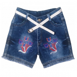 HVM Baby Girls Denim Shorts-6-7Y, 7-8Y